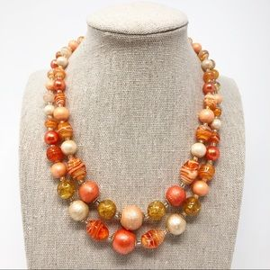 Vintage Double Strand Coral Glass Beaded Necklace